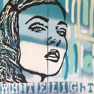 (CreativeWork) White Light by Niki McDonald - Tapestry girl. arcylic-painting. Shop online at Bluethumb.