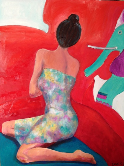 (CreativeWork) Elephant in the room by jane cunningham. oil-painting. Shop online at Bluethumb.