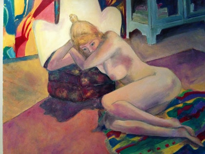 (CreativeWork) Sophie nude 1 by jane cunningham. oil-painting. Shop online at Bluethumb.