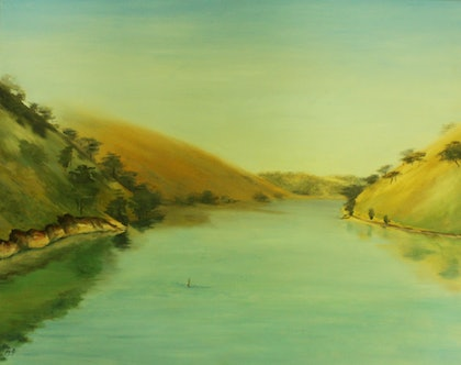 (CreativeWork) Rolling Hills by Anita Howard. oil-painting. Shop online at Bluethumb.