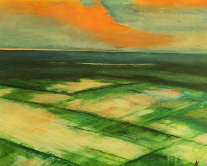 (CreativeWork) Sunset over Rice fields by Anita Howard. oil-painting. Shop online at Bluethumb.