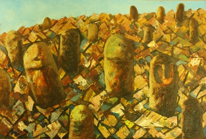 (CreativeWork) Ancient Ethiopian Burial Stones by Anita Howard. oil-painting. Shop online at Bluethumb.