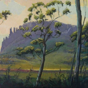(CreativeWork) Mount Oakleigh by Mac Monks. arcylic-painting. Shop online at Bluethumb.