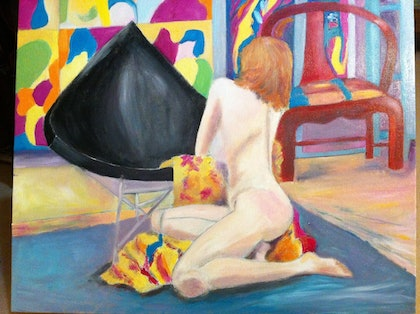 (CreativeWork) Sophie nude 2 by jane cunningham. oil-painting. Shop online at Bluethumb.