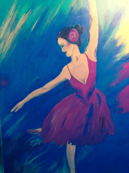 (CreativeWork) Ballerina in pink by jane cunningham. arcylic-painting. Shop online at Bluethumb.