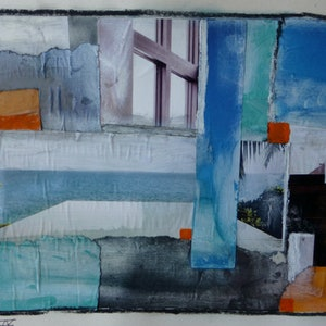 (CreativeWork) Stairs and Windows IV by Nicole Phillips. mixed-media. Shop online at Bluethumb.