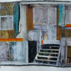 (CreativeWork) Stairs and Windows III by Nicole Phillips. mixed-media. Shop online at Bluethumb.