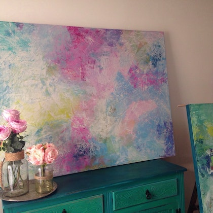 (CreativeWork) Pastel love by Jo Fichtner. arcylic-painting. Shop online at Bluethumb.