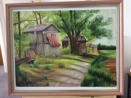 (CreativeWork) LANDSCAPE  by Rosie Sharma. oil-painting. Shop online at Bluethumb.