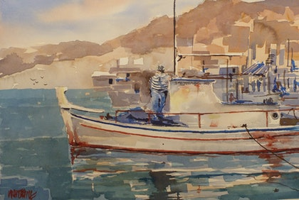(CreativeWork) Sifnos Harbour by Jeff Whitehill. watercolour. Shop online at Bluethumb.