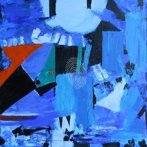 (CreativeWork) Blue by Glenn Launerts. arcylic-painting. Shop online at Bluethumb.