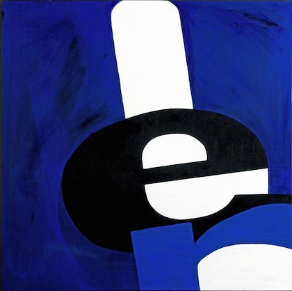 "(CreativeWork) ""E"" by Glenn Launerts. arcylic-painting. Shop online at Bluethumb."
