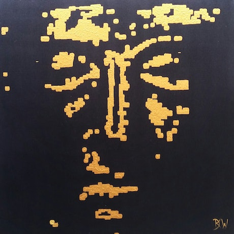 (CreativeWork) The Emergence of Man - 100 x 100cm Black Gold Texture Acrylic  Abstract Art by Desley Wilson. Acrylic Paint. Shop online at Bluethumb.