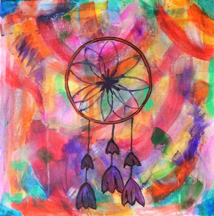 (CreativeWork) Dream Catcher by Imogen Clarke. arcylic-painting. Shop online at Bluethumb.