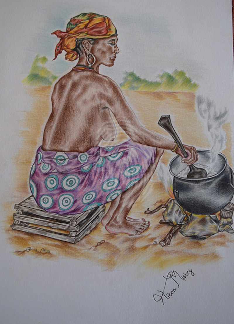 Shop online at bluethumb creativework zambian traditional lady by hiten mistry drawing shop online at bluethumb