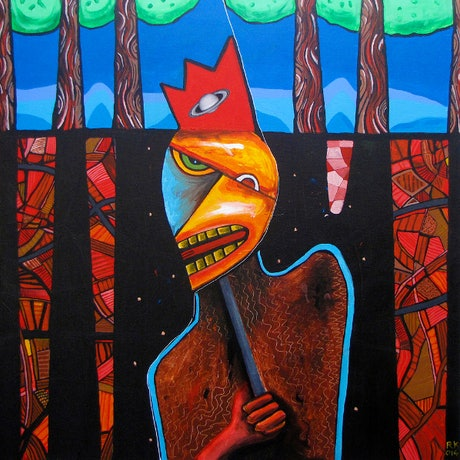 (CreativeWork) The Mask by Rolfe Knudsen. Acrylic Paint. Shop online at Bluethumb.