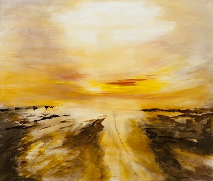 (CreativeWork) Sunset over the Coast by Roger Reading. arcylic-painting. Shop online at Bluethumb.