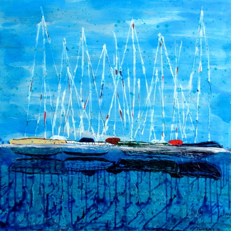(CreativeWork) The Yacht Squad - Acrylic on Canvas - 2015 by Jazmin Wilkins. . Shop online at Bluethumb.