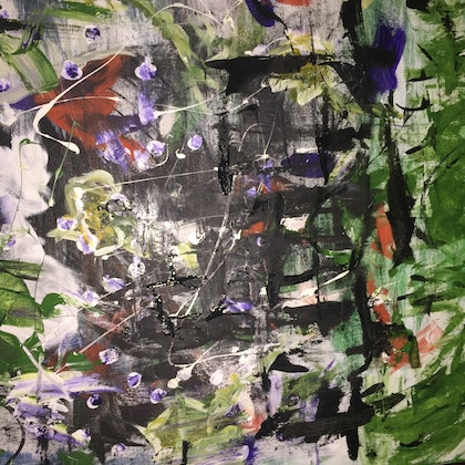 (CreativeWork) Violet tantrums by Chelsea Halpin. arcylic-painting. Shop online at Bluethumb.