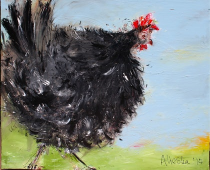 (CreativeWork) black hen eating by Alieska Manintveld. arcylic-painting. Shop online at Bluethumb.