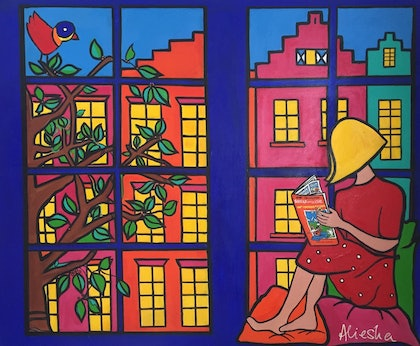 (CreativeWork) girl reading in windowsill Amsterdam by Alieska Manintveld. arcylic-painting. Shop online at Bluethumb.