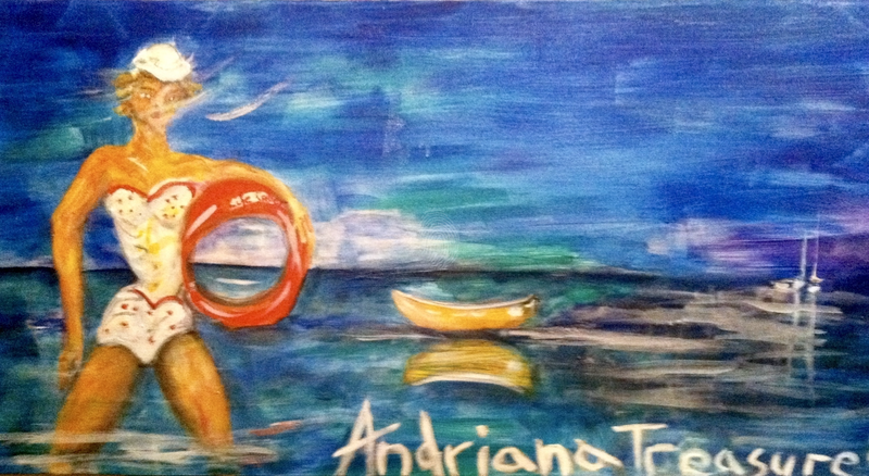 (CreativeWork) Lifesaver on a mission by Andriana Treasure. oil-painting. Shop online at Bluethumb.