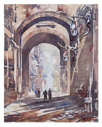 (CreativeWork) 'Old Quarter 2', Barcelona  by Jeff Whitehill. watercolour. Shop online at Bluethumb.