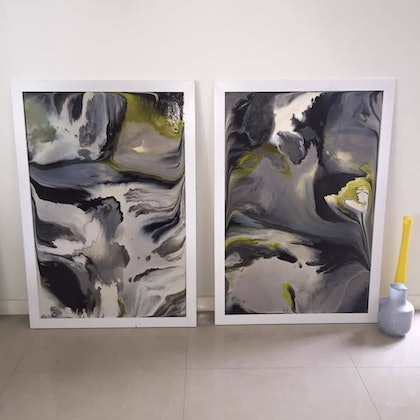 """(CreativeWork) """"Dove Skies""""  2 x 90CM X 60CM Abstract Peices by Sofi Douglas. arcylic-painting. Shop online at Bluethumb."""
