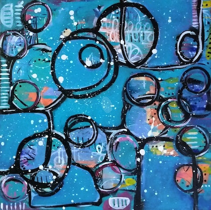 (CreativeWork) Nightminds by Kate Biggs. arcylic-painting. Shop online at Bluethumb.