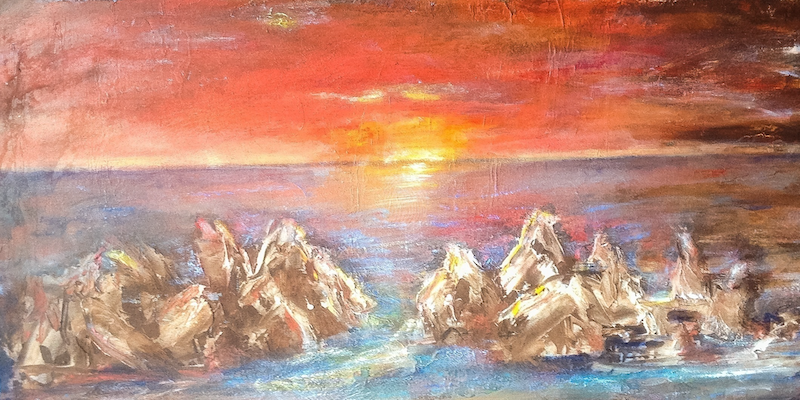 (CreativeWork) Sunset on rocks by Meri Andric. arcylic-painting. Shop online at Bluethumb.