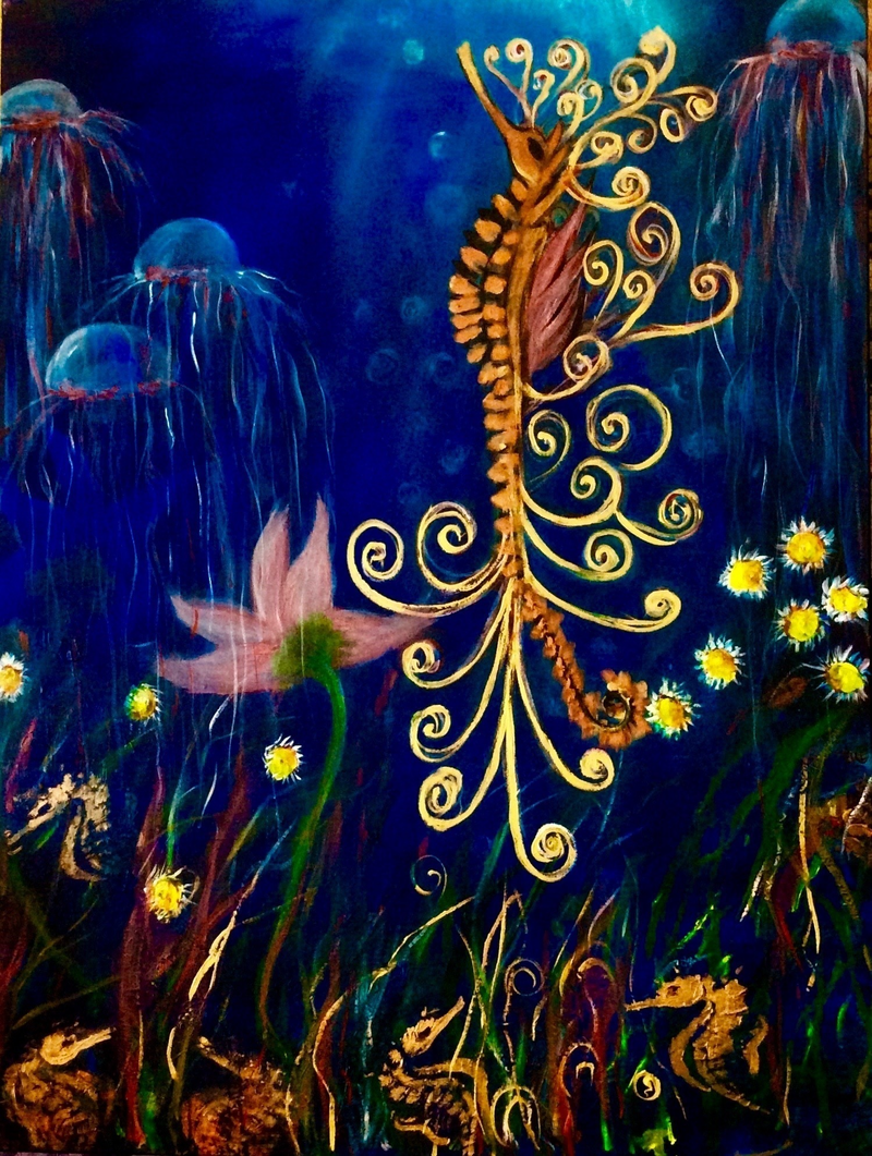 (CreativeWork) A Star is Born 102x75x3.5 Ready to Hang, Seahorse, Blue by Louise Croese. arcylic-painting. Shop online at Bluethumb.