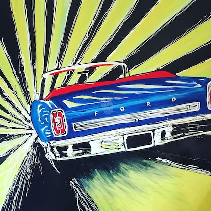 (CreativeWork) Blue car by Cameron Gordon. arcylic-painting. Shop online at Bluethumb.
