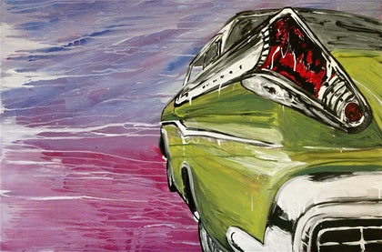 (CreativeWork) Green car by Cameron Gordon. arcylic-painting. Shop online at Bluethumb.