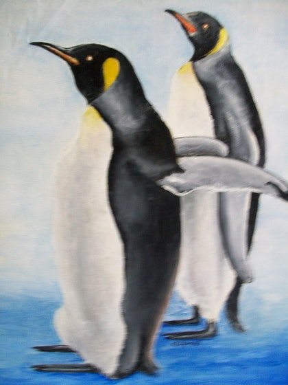 (CreativeWork) penguins by GREG LIPMAN. oil-painting. Shop online at Bluethumb.