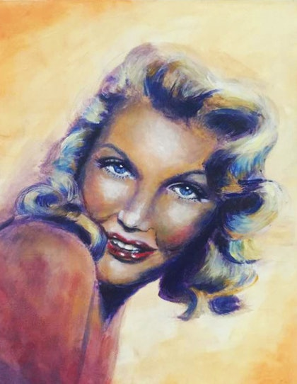 (CreativeWork)  marylin Monore oil painting by Jennifer Warwick. oil-painting. Shop online at Bluethumb.
