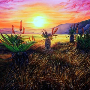 (CreativeWork) Aloe Aloe Is Anybody There? by Luna Vermeulen. oil-painting. Shop online at Bluethumb.