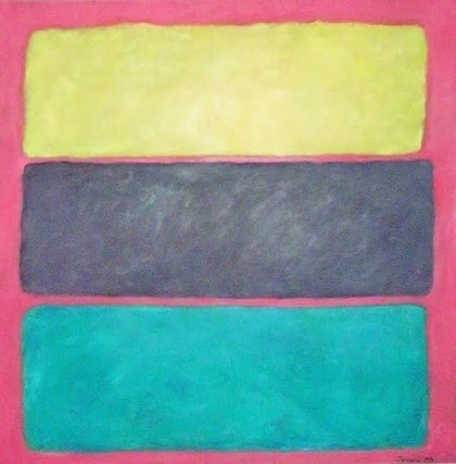 (CreativeWork) Yellow Purple Turquoise on Crimson by Jennifer McGuinness. oil-painting. Shop online at Bluethumb.