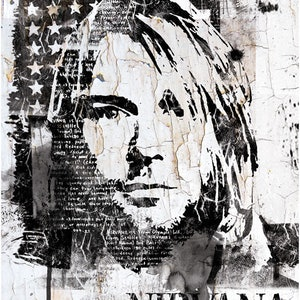 (CreativeWork) Streetart Portrait of Kurt Cobain by INDO The Artist. print. Shop online at Bluethumb.