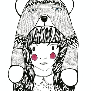 (CreativeWork) Bear Chick by Tina Mose. drawing. Shop online at Bluethumb.