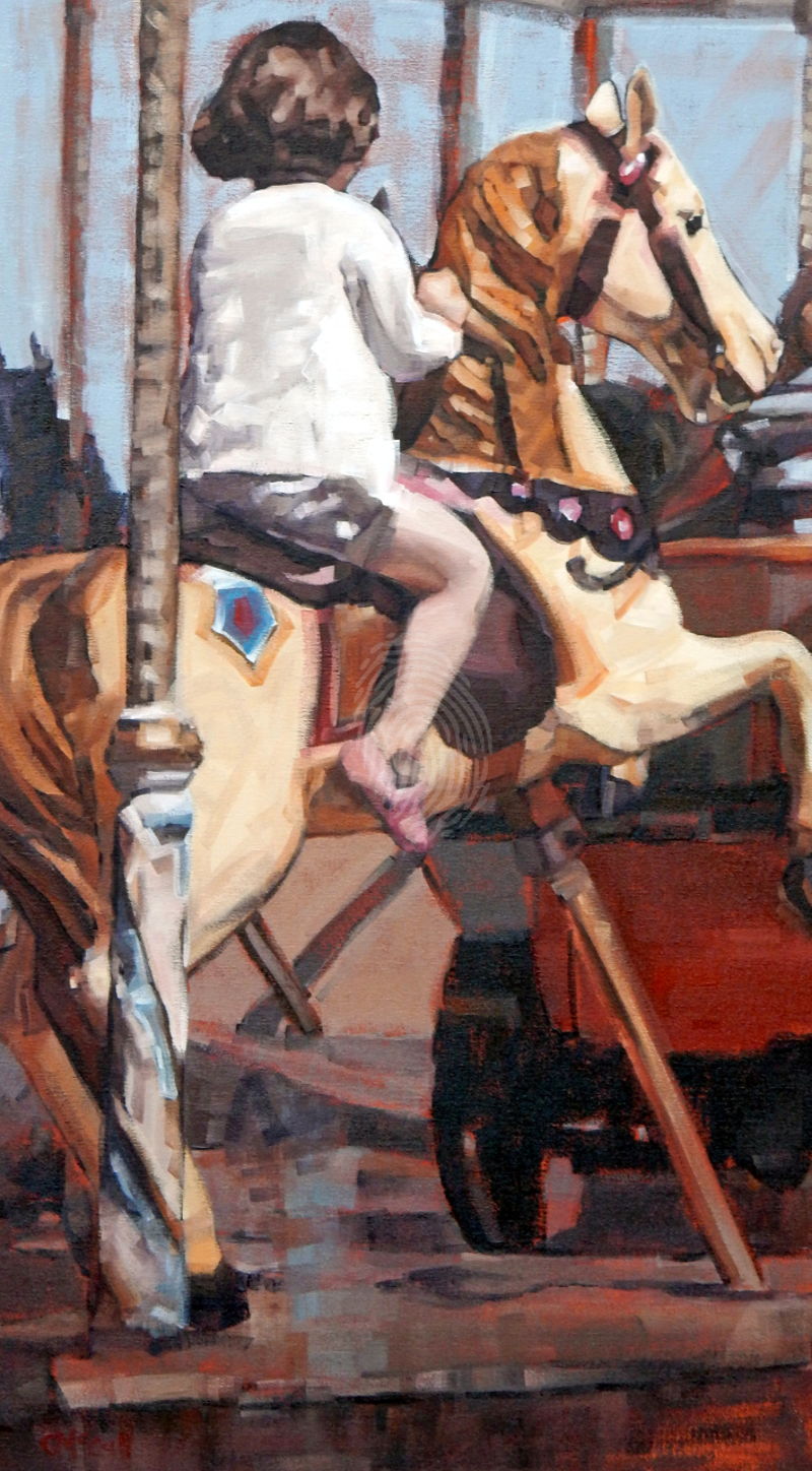 (CreativeWork) Merry-Go-Round II by Claire McCall. Oil Paint. Shop online at Bluethumb.