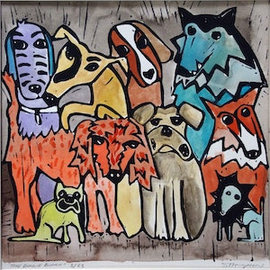 (CreativeWork) Doggie Bunch by Samantha Thompson. print. Shop online at Bluethumb.