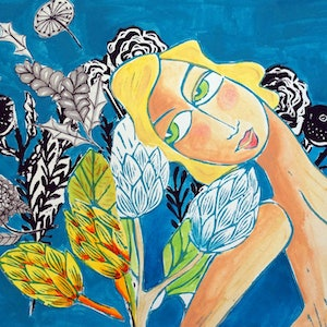 (CreativeWork) My ocean garden by Samantha Thompson. mixed-media. Shop online at Bluethumb.