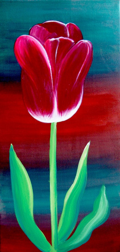 (CreativeWork) A Tulip for Parkinsons by Sacha Whitehead. arcylic-painting. Shop online at Bluethumb.
