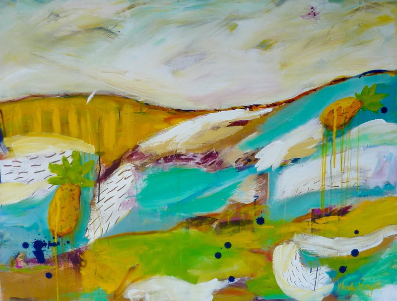 (CreativeWork) Pineapple Landscape 2 by Wendy Bache. arcylic-painting. Shop online at Bluethumb.