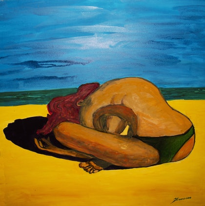 (CreativeWork) Beach Meditation by Francesco Bova. arcylic-painting. Shop online at Bluethumb.