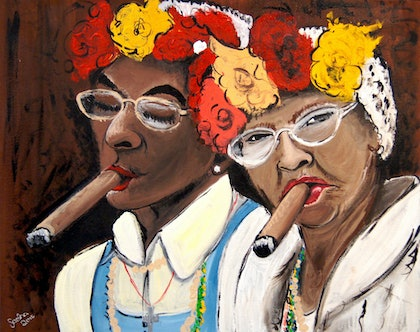 (CreativeWork) The Joy of Aging With Friends by Sacha Whitehead. arcylic-painting. Shop online at Bluethumb.