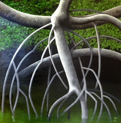 (CreativeWork) Mangroves of Ormiston by May Sheppard. arcylic-painting. Shop online at Bluethumb.