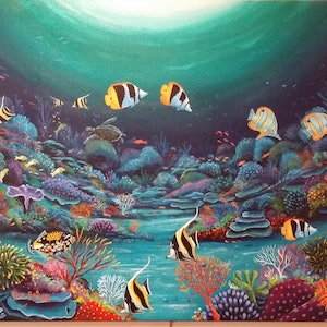 (CreativeWork) Reef Scene  by ken bailey. arcylic-painting. Shop online at Bluethumb.