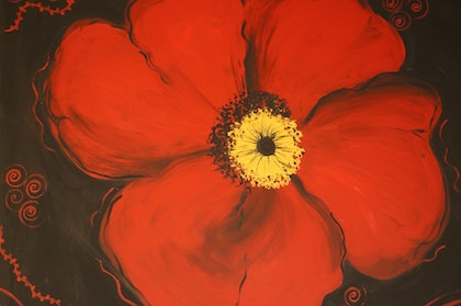 (CreativeWork) Red Poppy It Stands by Sacha Whitehead. arcylic-painting. Shop online at Bluethumb.