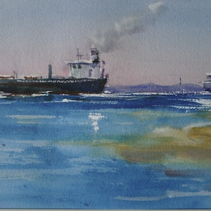 (CreativeWork) INCOMING SHIPS by Anki Wickison. watercolour. Shop online at Bluethumb.